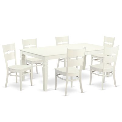 Davy 7 Piece Dining Set Color: Linen white