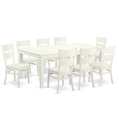 Delbarton 9 Piece Dining Set Color: Linen white
