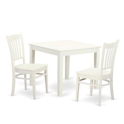 Hillhouse 3 Piece Dining Set Color: Linen white