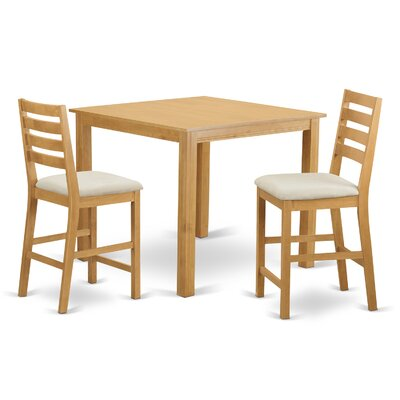 Caf 3 Piece Counter Height Dining Set Finish: Natural Oak