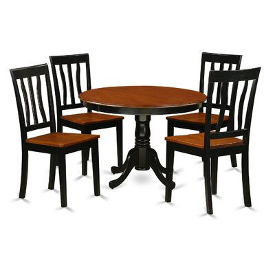 Hartland 5 Piece Dining Set Finish: Black and Cherry