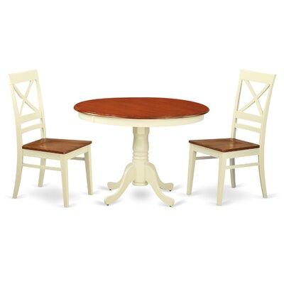 Hartland 3 Piece Dining Set Table Base Color: Buttermilk, Table Top Color: Cherry