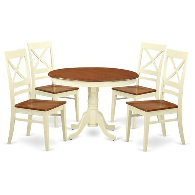 Hartland 5 Piece Dining Set Table Base Color: Buttermilk, Table Top Color: Cherry