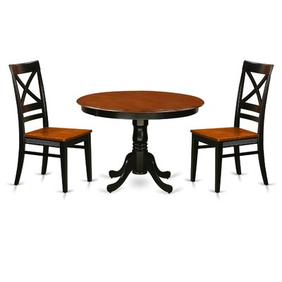 Hartland 3 Piece Dining Set Table Base Color: Black, Table Top Color: Cherry