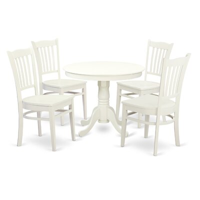 "5 Piece Dining Set Size: 30"" H x 36"" W x 36"" D, Color: Linen white"