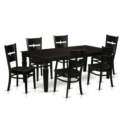 Davy 7 Piece Dining Set Color: Black