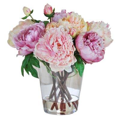 Jane Seymour Botanicals Multi Pink Peonies in Glass Vase