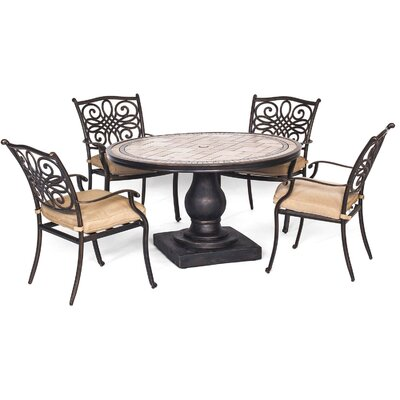 Bucci 5 Piece Dining Set with Cushions