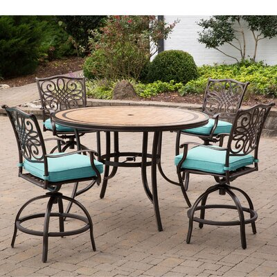 Bucci 5 Pieces High-Dining Set with Cushions Cushion Color: Ocean Blue