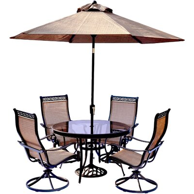 Bucci 5 Piece Dining Set with Table Umbrella and Umbrella Stand