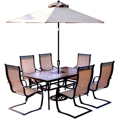 Bucci 7 Piece Dining Set with Table Umbrella and Umbrella Stand