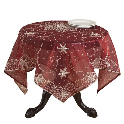 """Beaded Tablecloth Size: 90"""" W x 90"""" L, Color: Silver"""