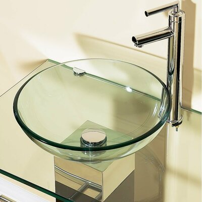 Glass Circular Vessel Bathroom Sink with Faucet and Pedestal