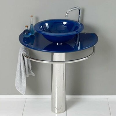 "Glass 35"" Pedestal Bathroom Sink with Faucet"