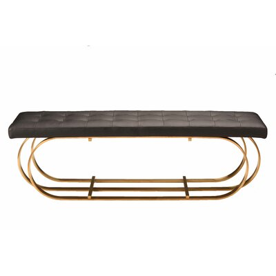 "Fahey Upholstered Bench Upholstery: Black, Color: Brushed Gold, Size: 17.3"" H x 59"" W x 17.3"" D"