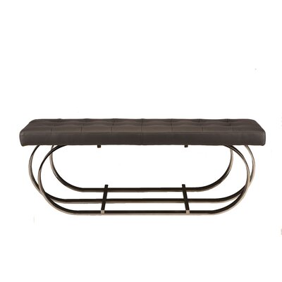 "Fahey Upholstered Bench Upholstery: Black, Color: Polished Silver, Size: 17.3"" H x 47.3"" W x 17.3"" D"