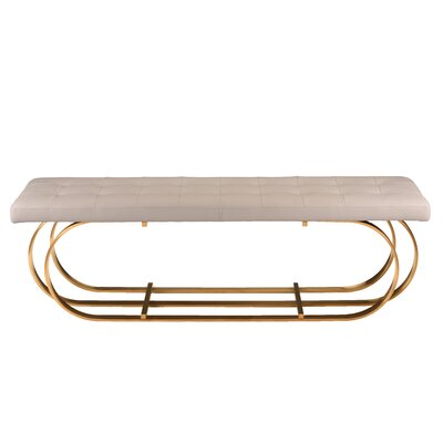 "Fahey Upholstered Bench Upholstery: White, Color: Brushed Gold, Size: 17.3"" H x 59"" W x 17.3"" D"