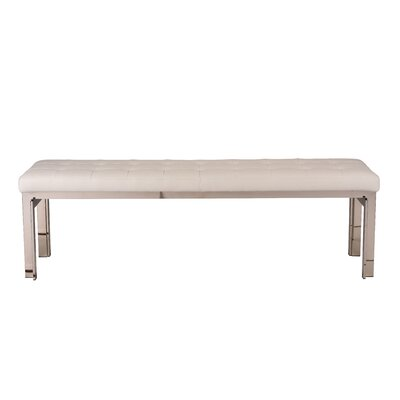 """Truc Faux Leather Bench Upholstery: White, Color: Polished Silver, Size: 17.3"""" H x 59"""" W x 17.3"""" D"""