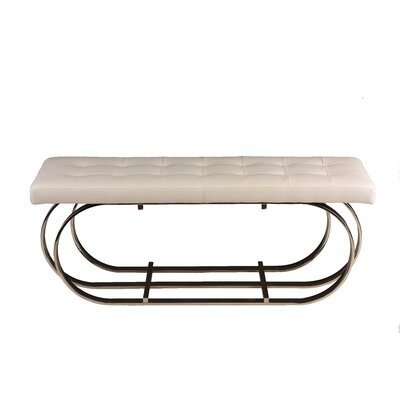 "Fahey Upholstered Bench Color: Polished Silver, Size: 17.3"" H x 47.3"" W x 17.3"" D, Upholstery: White"