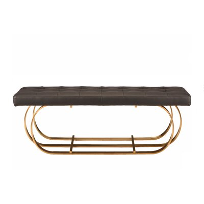 "Fahey Upholstered Bench Upholstery: Black, Size: 17.3"" H x 47.3"" W x 17.3"" D, Color: Brushed Gold"