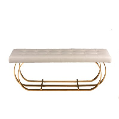 "Fahey Upholstered Bench Size: 17.3"" H x 47.3"" W x 17.3"" D, Upholstery: White, Color: Brushed Gold"