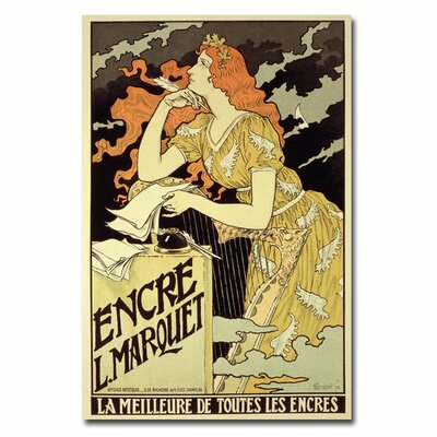 "Trademark Fine Art ""Marquet Ink, 1892"" by Eugene Grasset Vintage Advertisement on Wrapped Canvas"