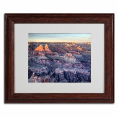 """Trademark Fine Art """"Grand Canyon Sunset"""" by Pierre Leclerc Matted Framed Photographic Print"""