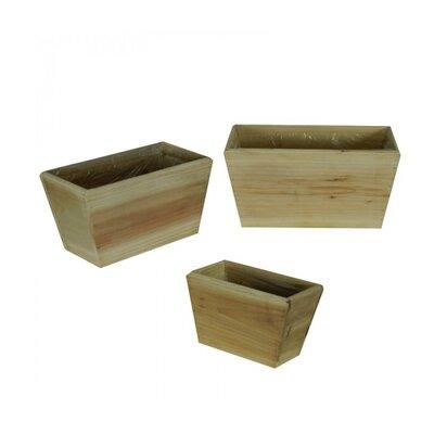 Wooden Flower 3-Piece Wood Pot Planter Set (Set of 3)