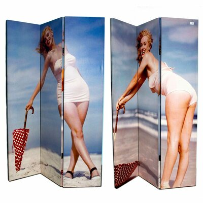 Manilyn Monroe By The Beach 3 Panel Room Divider