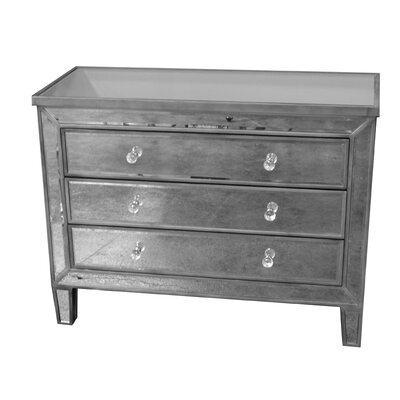 Jair Glass 3 Drawer Accent Chest