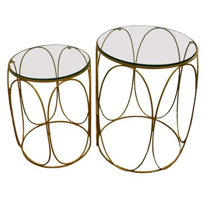 Naia 2 Piece Iron and Glass Top Accent Stool Set