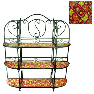 Benard 3 Tier Mosaic Multi-tiered Plant Stand Color: Red