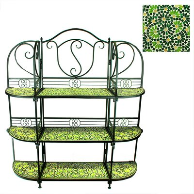 Benard 3 Tier Mosaic Multi-tiered Plant Stand Color: Green