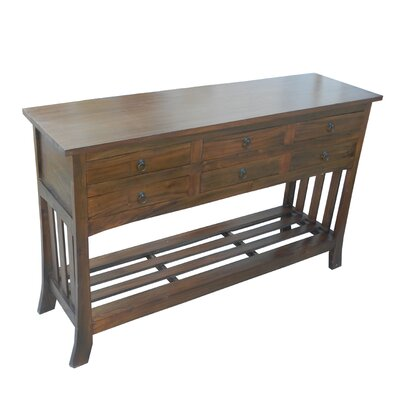 Diandra Wooden 6 Drawer Console Table