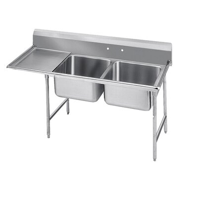 900 Series Double Seamless Bowl Scullery Sink Width: 64""