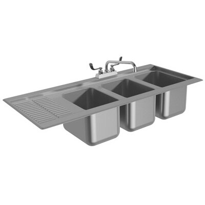 "43.31"" x 19"" Drop-In Service Utility Sink with Faucet"