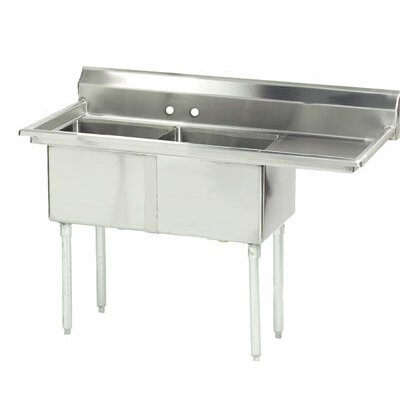 "56.5"" x 24"" Double Fabricated Bowl 2 Compartment Scullery Sink"