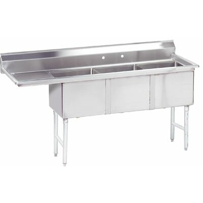 "Triple Fabricated Bowl 62.5"" x 20.5"" 3 Compartment Scullery Sink"