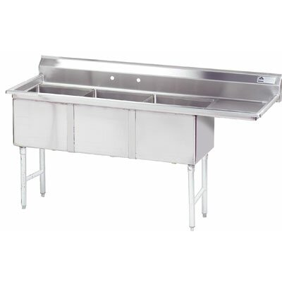"62.5"" x 21"" Triple Fabricated Bowl 3 Compartment Scullery Sink"