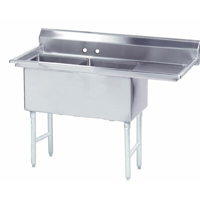 "68.5"" x 29"" Double Fabricated Bowl 2 Compartment Scullery"