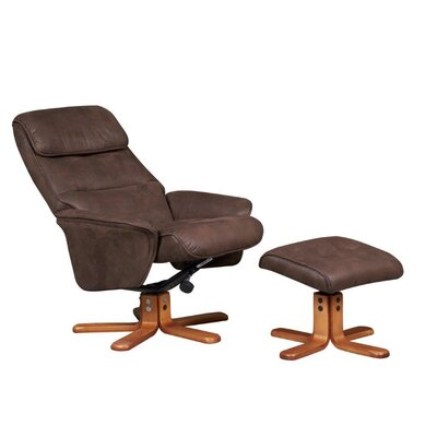 GFA Amalfi Faux Suede Swivel Recliner and Footstool