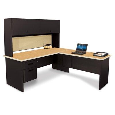 Pronto L-Shape Executive Desk with Hutch Top Finish: Oak