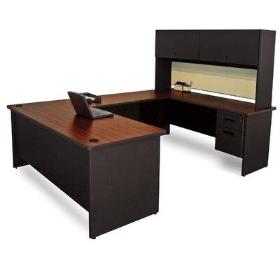 Pronto Flipper Door Unit U-Shape Executive Desk with Hutch Top Finish: Mahogany