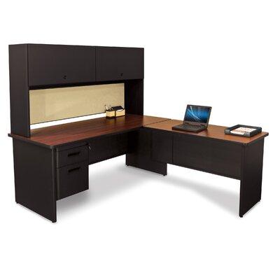 Pronto L-Shape Executive Desk with Hutch Top Finish: Mahogany
