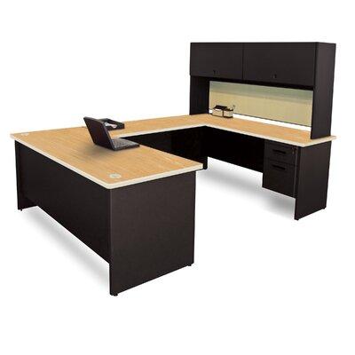 Pronto Flipper Door Unit U-Shape Executive Desk with Hutch Top Finish: Oak