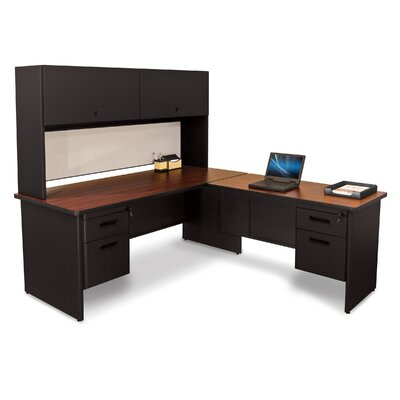 Pronto Lock and Drawers L-Shape Executive Desk with Hutch Top Finish: Mahogany