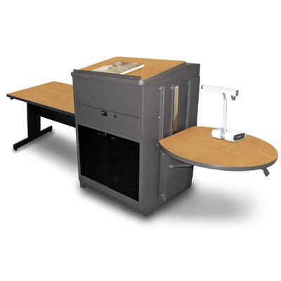 Vizion Rectangular Table with Media Center and Lectern Finish: Oak
