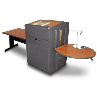 Vizion Rectangular Table with Media Center and Lectern Finish: Cherry