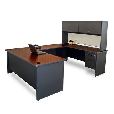 Pronto U-Shape Executive Desk with Hutch Finish: Mahogany/Dark Neutral