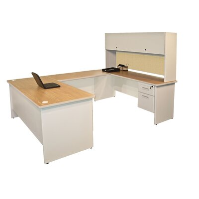Pronto Flipper Door Unit U-Shape Executive Desk with Hutch Finish: Oak/Putty
